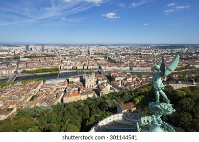 View of Lyon from the top of Notre Dame de Fourviere, France.
