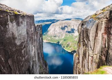 View of Lysefjord and Kjerag mountain, famous landmark in Norway. Summer landscape