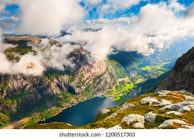 View of Lysefjord from Kjerag mountain, Norway. Summer landscape