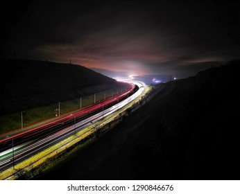 View of the M62 from the Scammonden Bridge in the early morning, West Yorkshire, UK