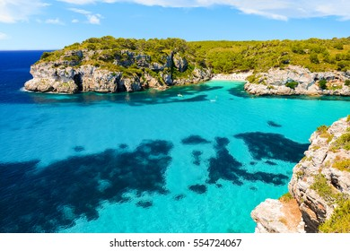 View of Macaraletta beach and bay with beautiful turquoise sea water, Menorca island, Spain