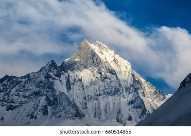 A View of Machapuchare Peak (Fishtail Mountain) from Annapurna Base Camp (ABC), Nepal