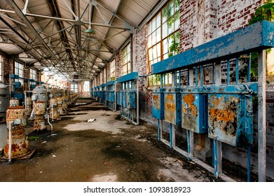 View of machines inside the derelict Nitrating House at the long abandoned Indiana Army Ammunition Plant, which produced black powder and mostly closed after the Vietnam War.
