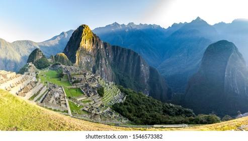 view of Machu Picchu a 15th-century Inca citadel, located in the Eastern Cordillera of southern Peru
