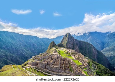View of Machu Picchu, Peru with Wayna Picchu rising in the background