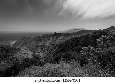 View of the Macizo de Anaga mountain range. Tenerife. Canary Islands. Spain. Black and white.