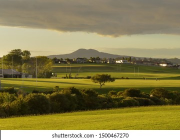 View of Macleans sport grounds in low evening light with Rangitoto island in background