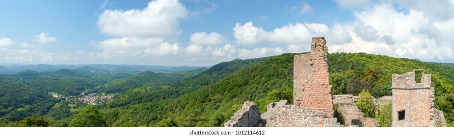 View from the Madenburg castle ruin near Landau in der Pfalz, Germany.