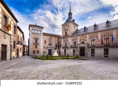 View of Madrid old Plaza de La Villa in the old town of Madrid, Spain. Architecture and landmark of Madrid