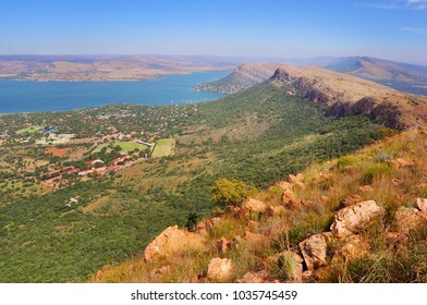 View of Magaliesberg mountain range in South Africa, summertime landscape