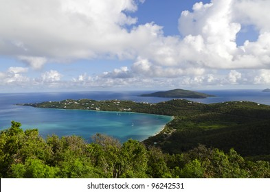 View of Magens Bay on St Thomas in the US Virgin Islands from Drake's Seat vantage point
