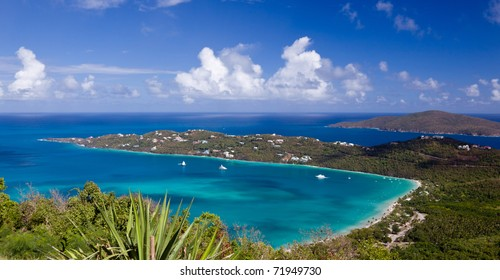 View of Magens Bay - the world famous beach on St Thomas in the US Virgin Islands