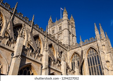 A view of the magnificent Bath Abbey in the historic city of Bath in Somerset, UK.