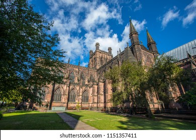 A view of the magnificent Chester Cathedral, in the historic city of Chester in Cheshire, UK.