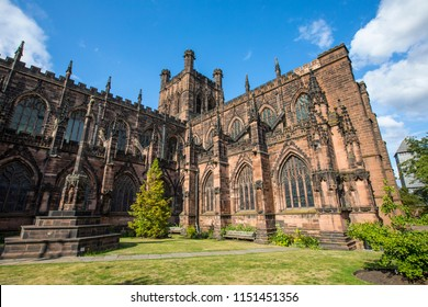 A view of the magnificent Chester Cathedral in the historic city of Chester in Cheshire, UK.