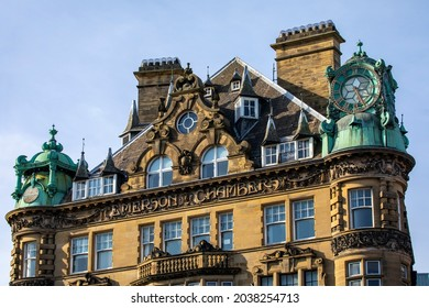 A view of the magnificent facade of Emerson Chambers in the Grainger Town area of Newcastle upon Tyne in the UK.