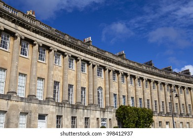 A view of the magnificent Georgian architecture of the Royal Crescent in Bath, Somerset.
