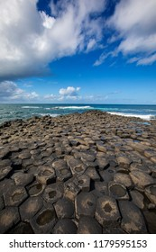 A view of the magnificent natural hexagonal stone columns at the Giant's Causeway in Northern Ireland.