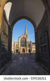 A view of the magnificent Norwich Cathedral through the Erpingham Gate in the historic city of Norwich, UK.