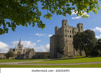 A view of the magnificent Rochester Cathedral and the keep of Rochester Castle in the historic city of Rochester in Kent, UK.