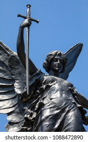 A view of the magnificent sculpture of the Colchester War Memorial in the market town of Colchester in Essex, UK.