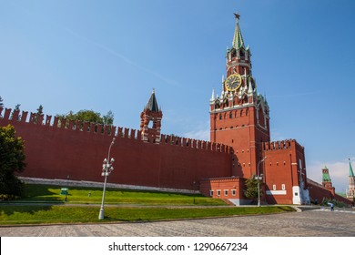 A view of the magnificent Spasskaya Tower, located on the eastern wall of the the Kremlin, on Red Square in Moscow, Russia.