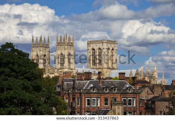A view of the magnificent York Minster over the rooftops of York, England.