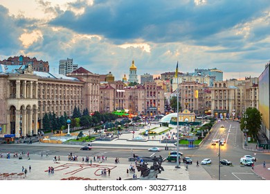 View of Maidan Nezalezhnosti Square at sunset. Kiev, Ukraine