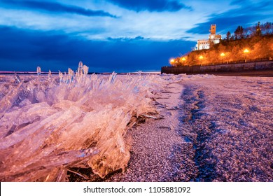 View to main attraction of Khabarovsk from Amur river ice