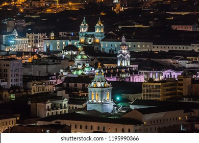 View of the main bell towers of colonial churches in the historic center of Quito