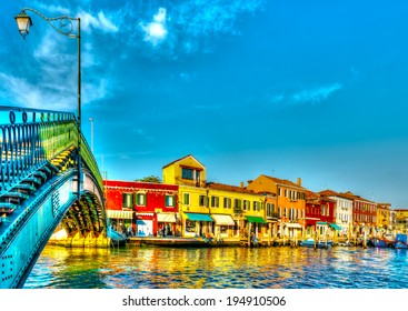view of the Main Canal at Murano island near Venice Italy. HDR processed