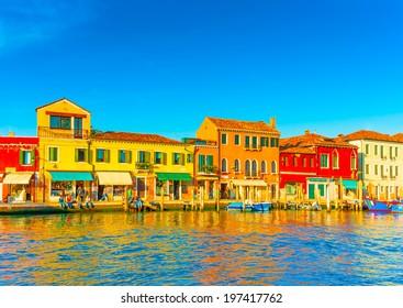 view of the Main Canal at Murano island near Venice Italy