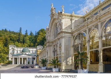 View of main cast-iron Spa Colonnade in Marianske Lazne, Czech republic - Shutterstock ID 777979537