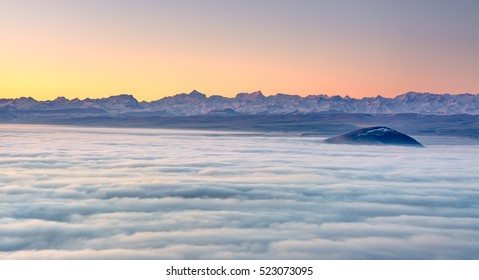 View of the Main Caucasian Range from the top of the mountain Beshtau. Pyatigorsk, Stavropol, Russia.