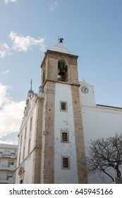 View of the main church of the city of Olhao, Portugal.