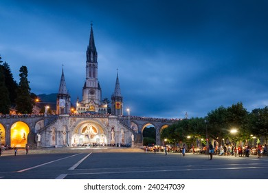 View of the main Church in Lourdes at sunset, France