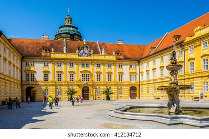 view of the main courtyard of the melk abbey in austria