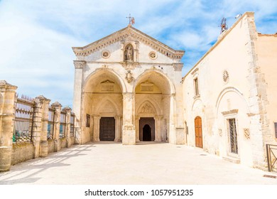 View of main facade of Saint Michael Archangel Sanctuary at Monte Sant'Angelo, in Apulia region,  Italy.