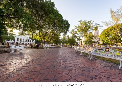 View of the main plaza in Valladolid, Mexico with the cathedral in the background