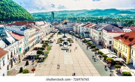 view of main square in Banska Bystrica, Slovakia from above during summer day