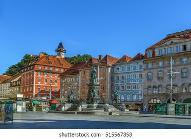 View of main square in Graz historic center, Austria