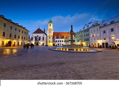 View of the main square in the old town of Bratislava, Slovakia.