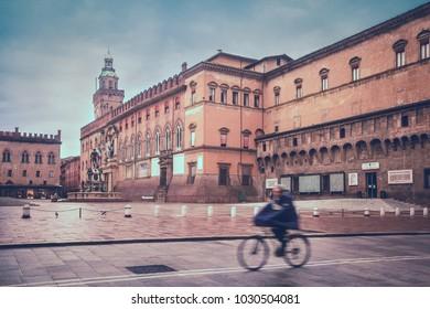 View of Main Square (Piazza Maggiore) with Palazzo d'Accursio, Bologna, Italy