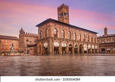View of Main Square (Piazza Maggiore) the Fountain of Neptune and Palazzo d'Accursio, Bologna, Italy