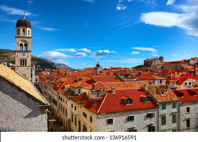 View of the main street of Dubrovnik and classic red tiled rooftops of city