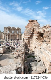 The view of a main street of Ephesus ancient city with Library of Celsus in a background (Turkey).