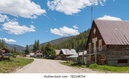 View of Main Street through Warren, an Idaho ghost town