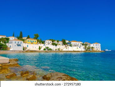 view of the main town of Spetses island in Greece