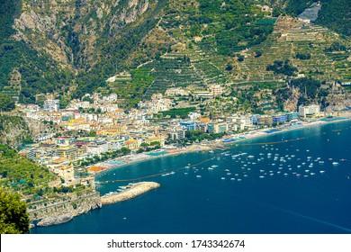 View of Maiori beach from the town of Ravello, Amalfi Coast, Italy, Europe