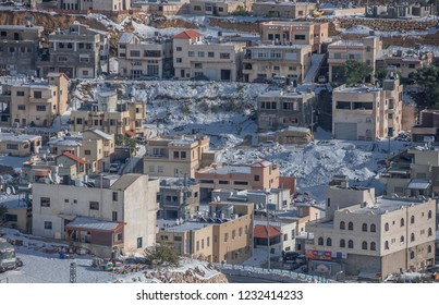 View of Majdal Shams in snowy winter,  a Druze town located on the southern foothills of Mount Hermon, north of the Golan Heights, on the ceasefire line between Israel and Syria.